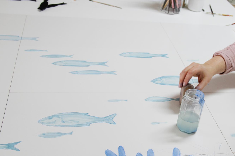 Mural Atelier en una terraza de la Costa Brava
